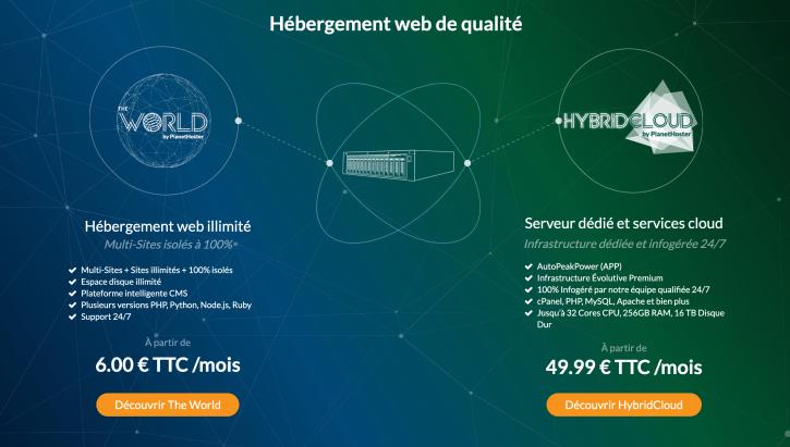Hébergement web illimité et multi-sites avec PlanetHoster