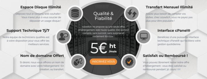 avantages de l'offre unique d'hébergement web o2switch