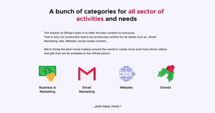Gifing, c'est du contenu de qualité pour différents secteurs d'activités et besoins