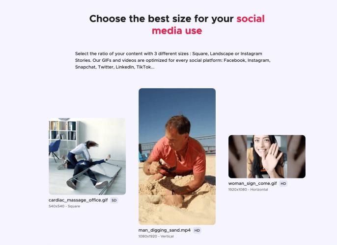Gifing propose des GIFS à la taille idéale pour les médias sociaux