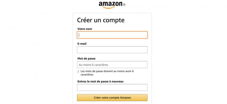 Inscirption partenaires.amazon.fr