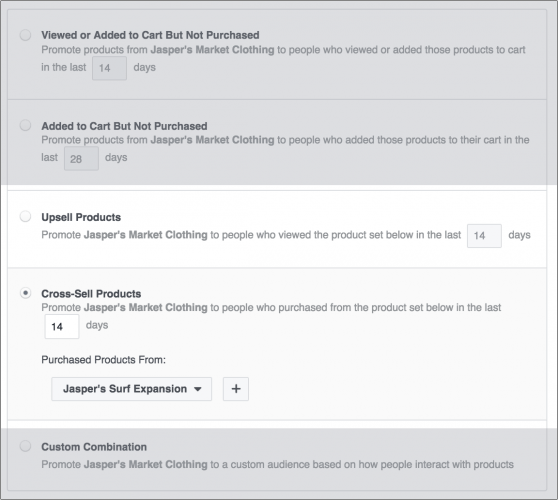 configurer une campagne de cross-sell ou d'upsell avec Facebook ADS