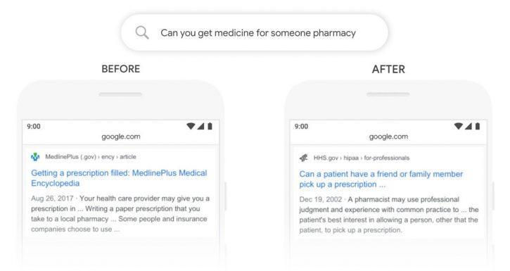 recherche avant/après mise à jour Google BERT